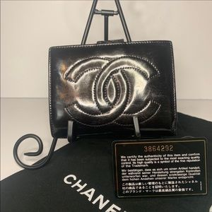 CHANEL Vintage Compact Wallet Leather Black